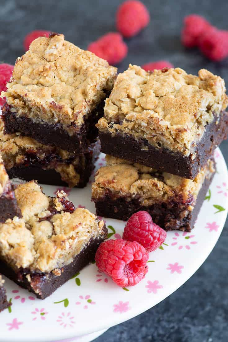 A serving platter of Raspberry Oatmeal Brownies