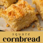 Cornbread Biscuits cut in squares.
