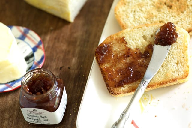 Toasted English Muffin Bread with jam