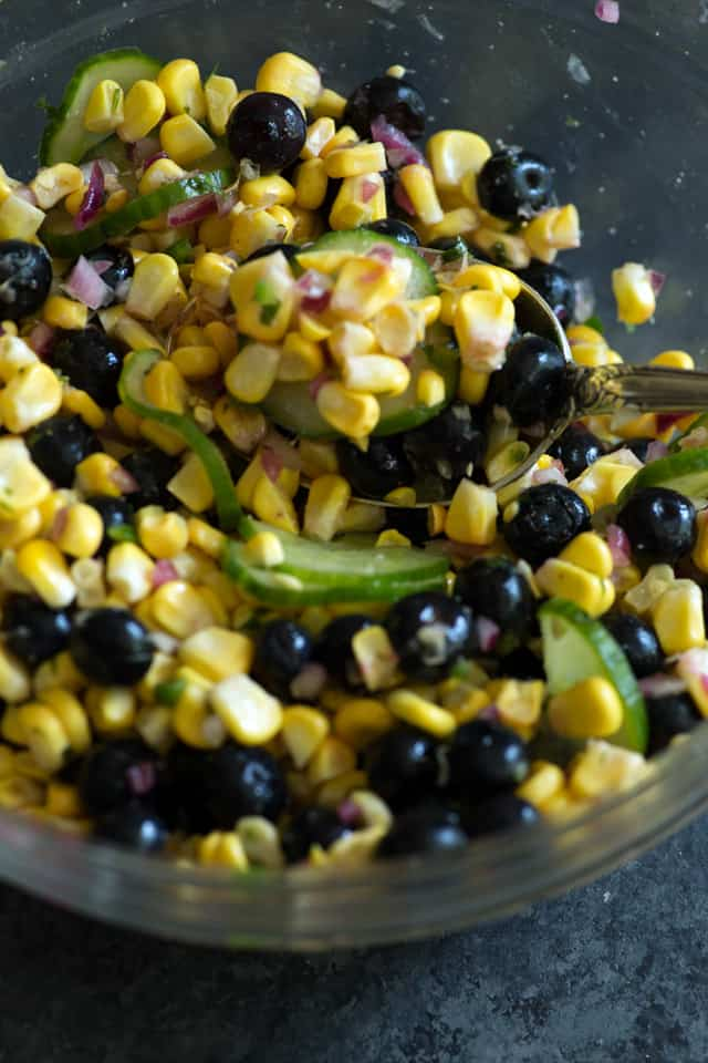 Grilled Corn and Blueberry Salad close-up