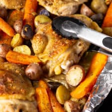 A piece of Ranch Chicken with Carrots and Potatoes