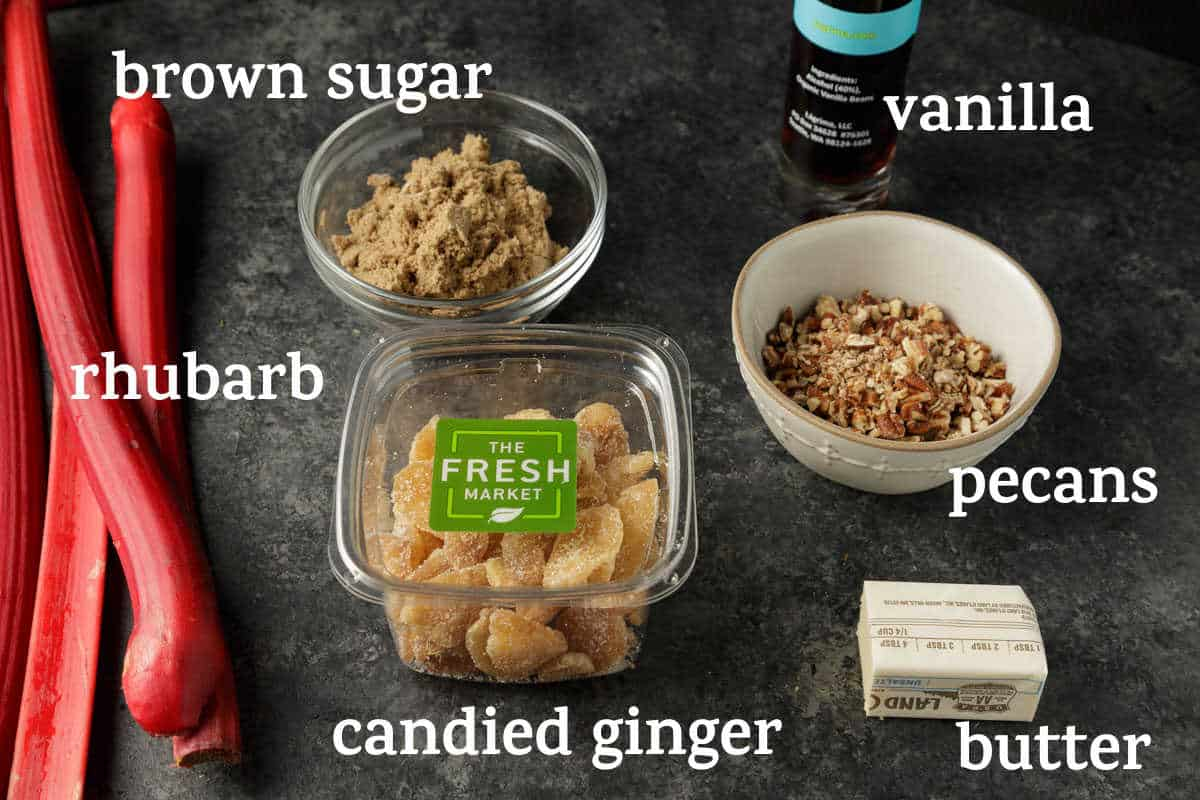 ingredients for the topping of rhubarb pound cake