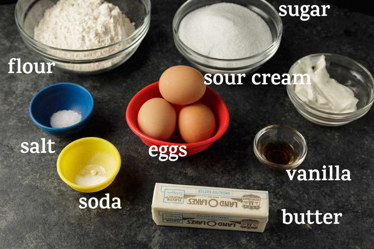 Ingredients for a sour cream pound cake