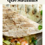 Shrimp and Corn Quesadillas on a plate.
