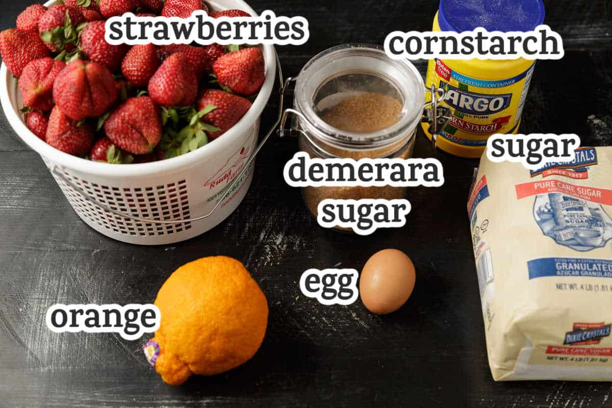 ingredients for a strawberry slab pie