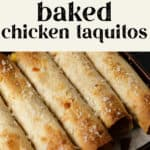 Baked Chicken Taquitos on a plate.