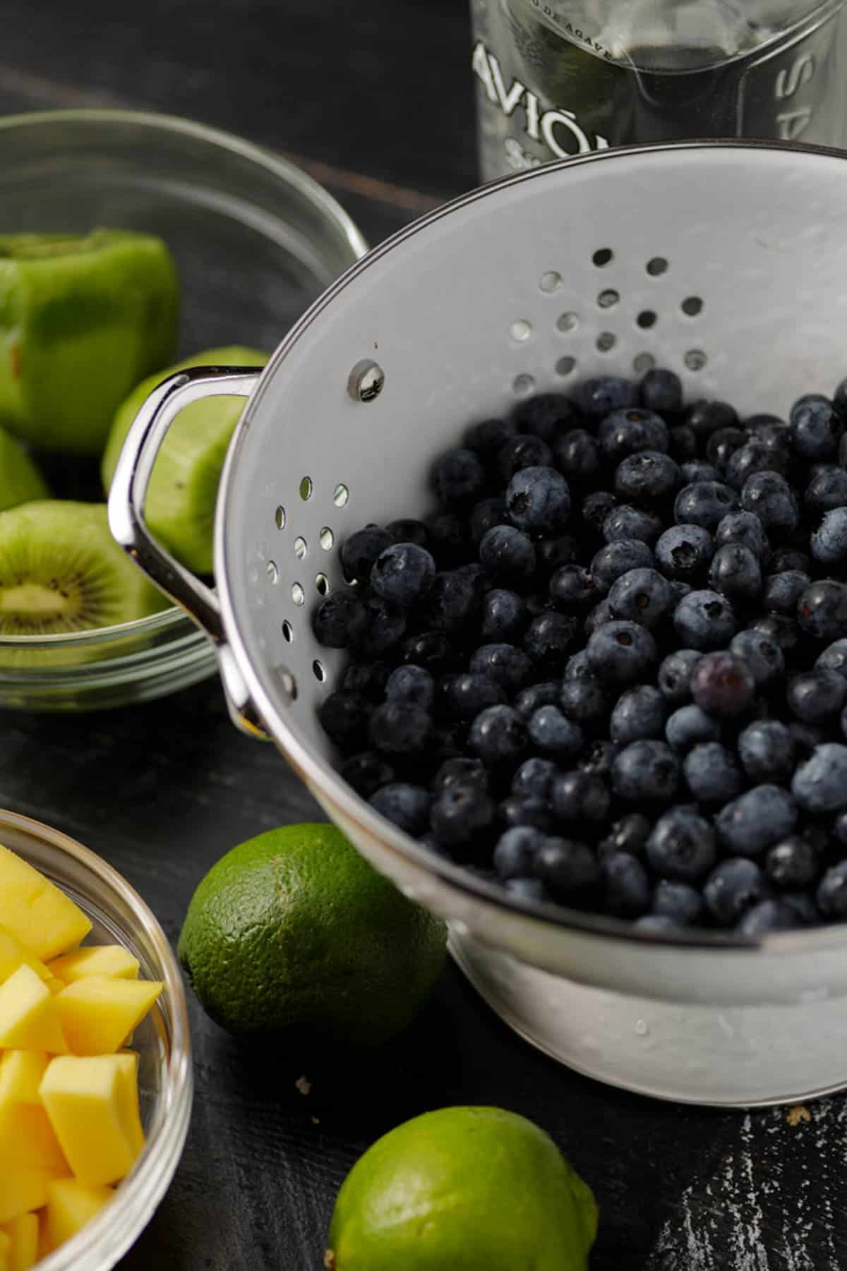 The ingredients for blueberry tequila salad.