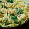 Creamy pasta and Shrimp with Spinach image