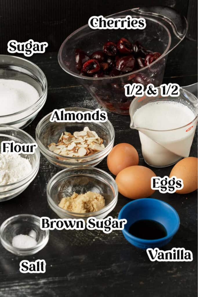 Ingredients for a cherry clafoutis