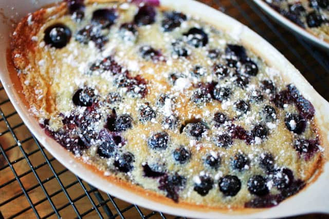 Blueberry Clafoutis in a baking dish