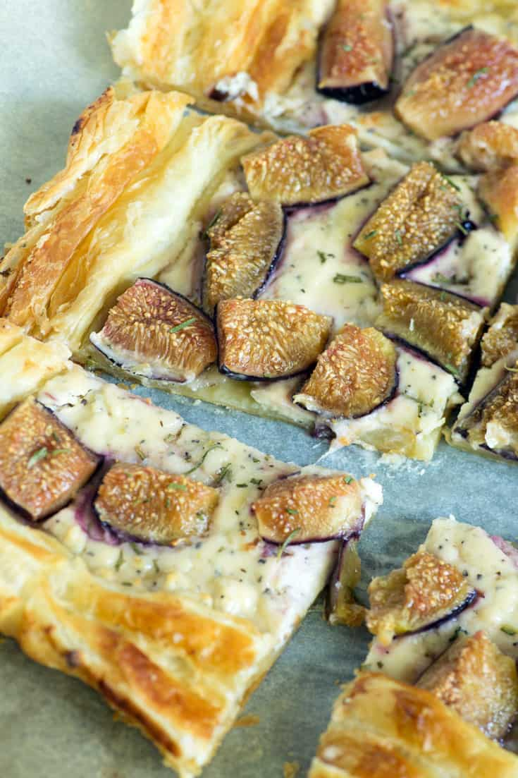 A baking sheet of Goat Cheese and Fig Tart
