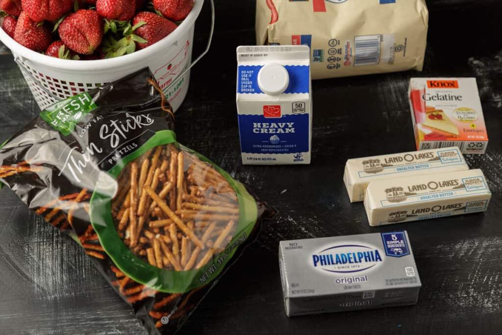 Ingredients for a strawberry pretzel salad