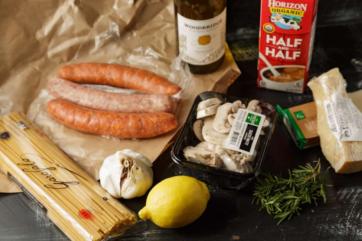 ingredients for pasta with Italian Sausage