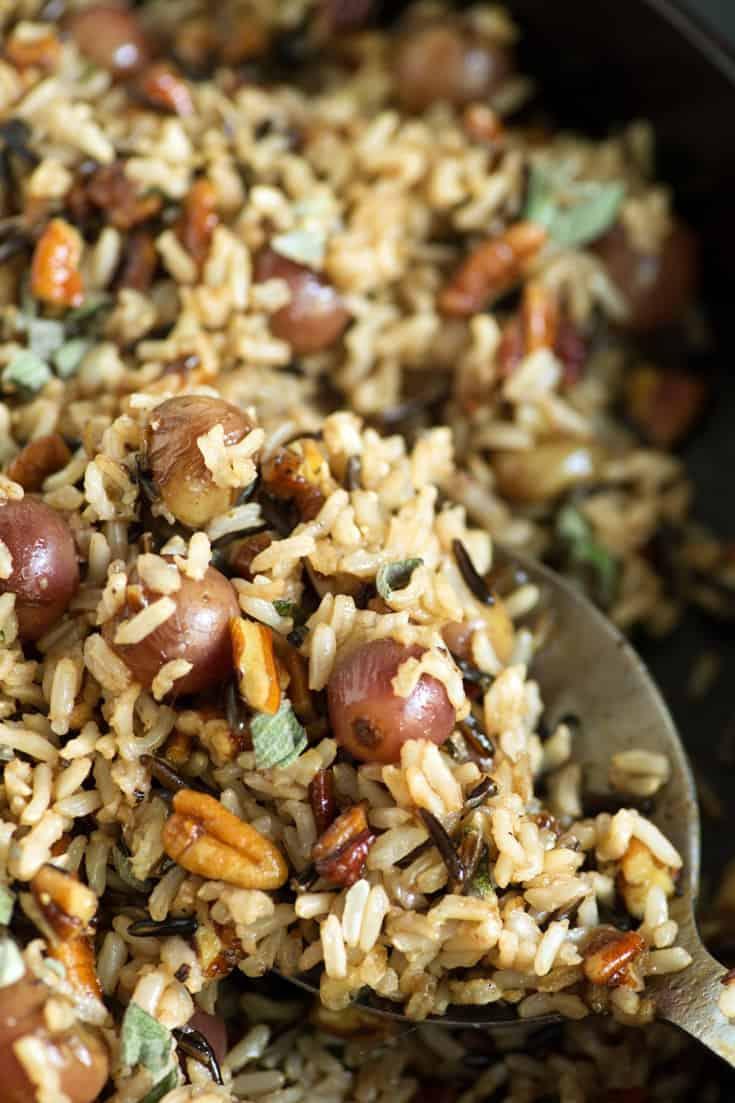 A spoonful of Wild Rice and Roasted Grapes