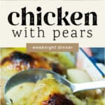 Chicken with Pears in a dish.
