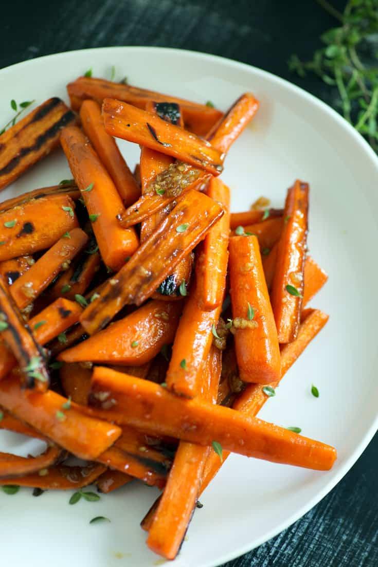 A plate of Bourbon Glazed Carrots