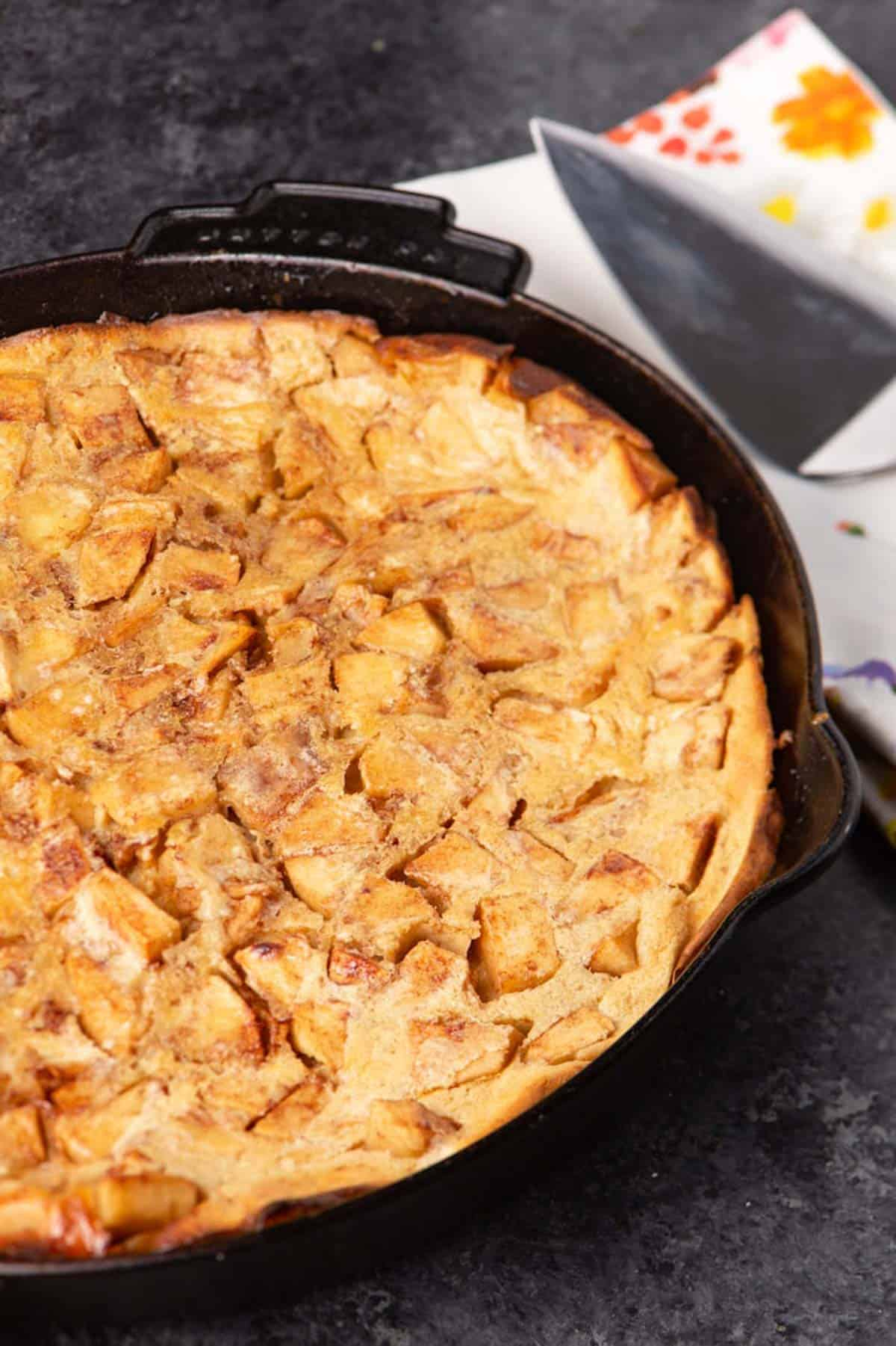 A German apple pancake after it has been baked.