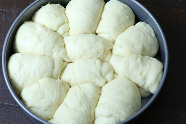 A pan of raw Fulffy Dinner Rolls