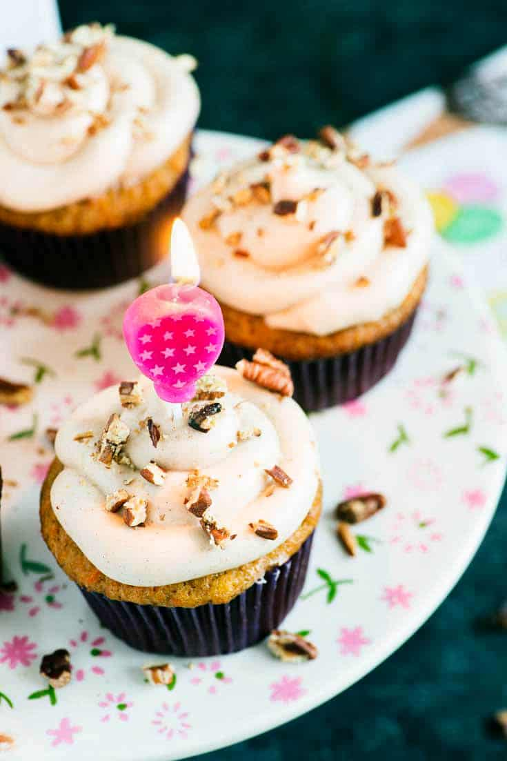 A platter of Banana Carrot Cake Cupcakes