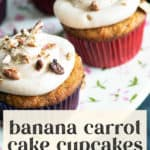 Banana Carrot Cake Cupcakes with Cinnamon Frosting on a platter.