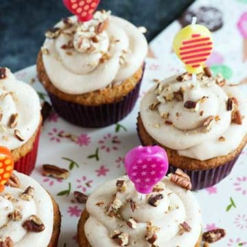 Banana Carrot Cake Cupcakes with candles