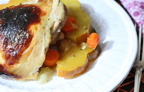 Maple Roasted Chicken with Acorn Squash