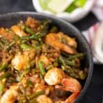 A bowl of Sriracha Shrimp with Coconut Rice