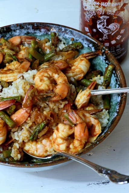 Sriracha Shrimp with Coconut Rice in a bowl