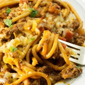 taco spaghetti swirled around a fork
