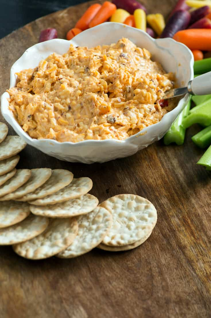 Smokey Pimento Cheese in a bowl with crackers