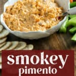 Smokey Pimento Cheese in a bowl with some crackers on the side.