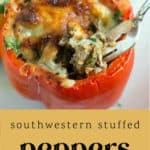 Southwestern Stuffed Peppers on a counter.
