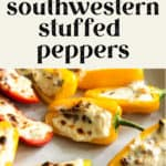 Southwestern Stuffed Peppers spread out on a plate.