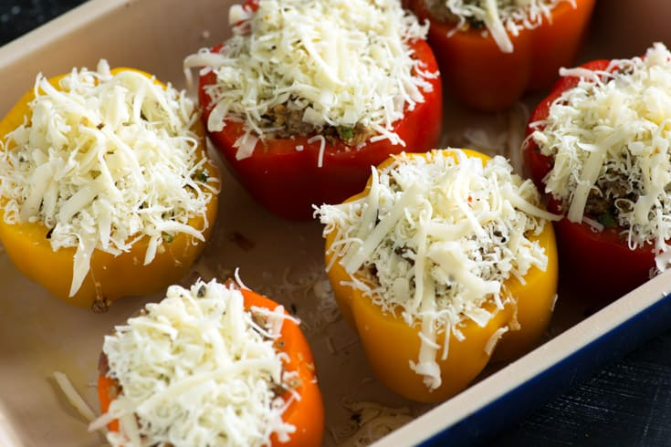 Southwestern Stuffed Peppers in a pan before they are baked