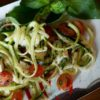 Zucchini Caprese Salad on a platter