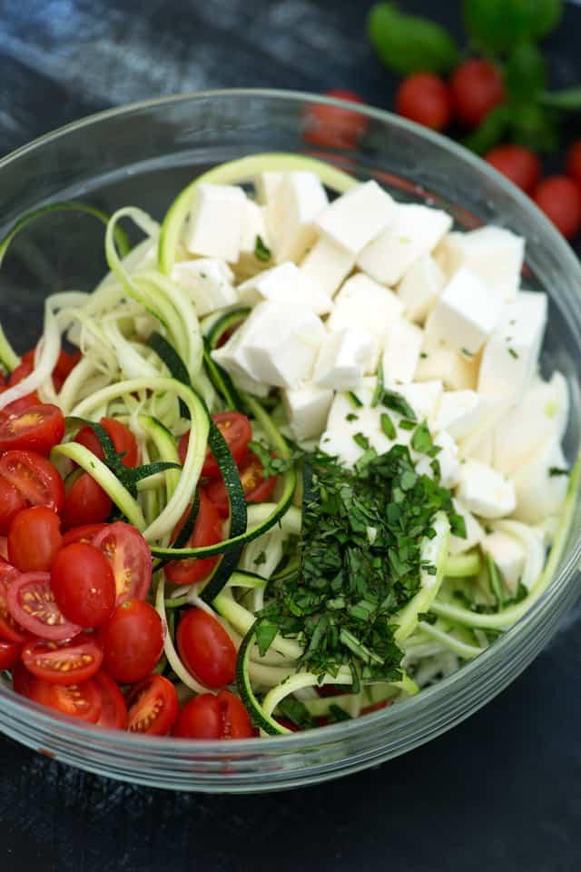 Zucchini Caprese Salad prep