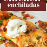 A chicken enchilada on a plate with a fork ready to eat.