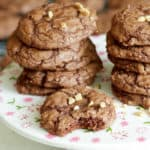 A stack of Chocolate Toffee Brownie Cookies