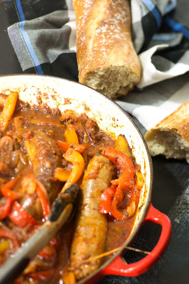 A skillet of Sausage and Peppers
