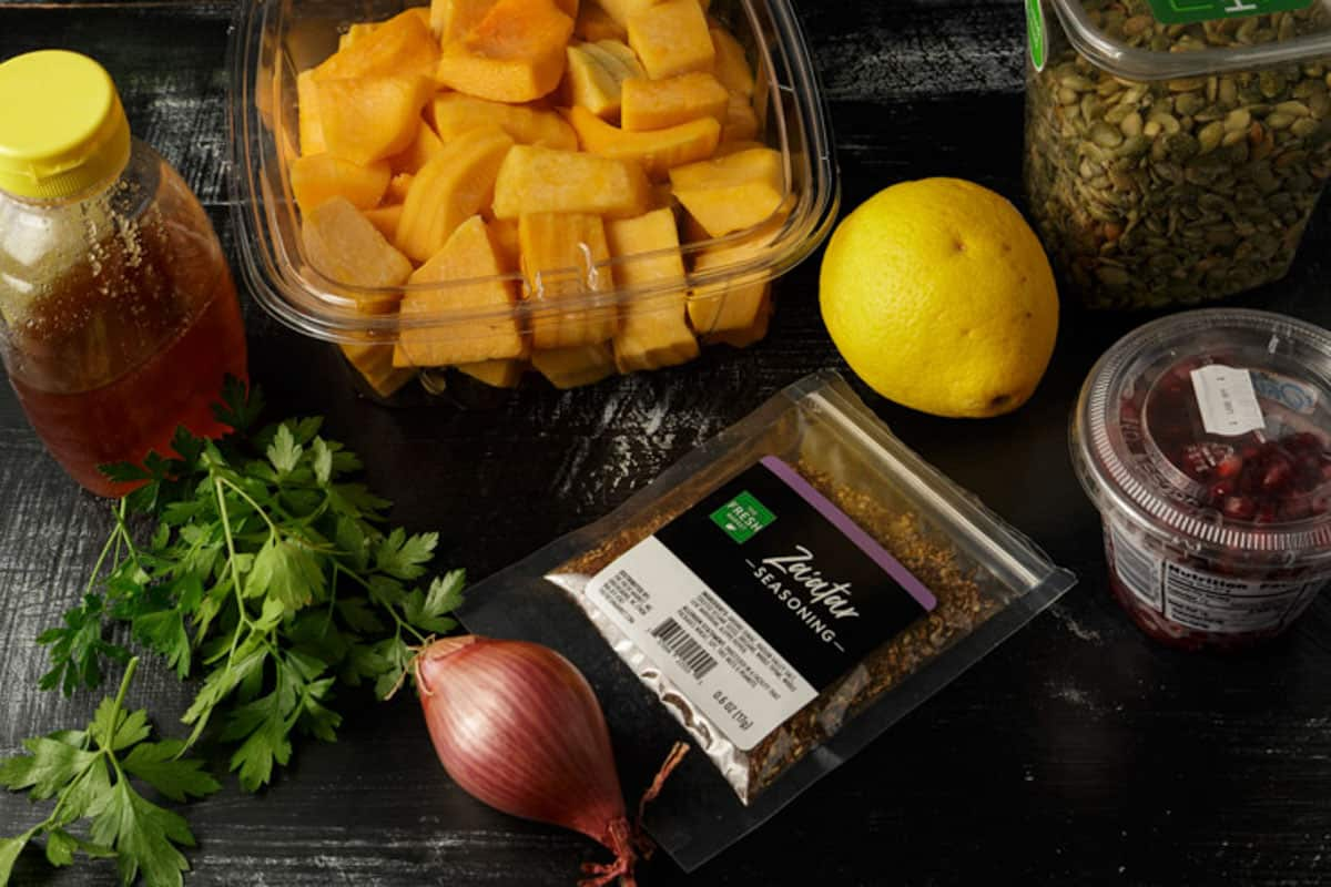 Ingredients for a butternut squash salad.