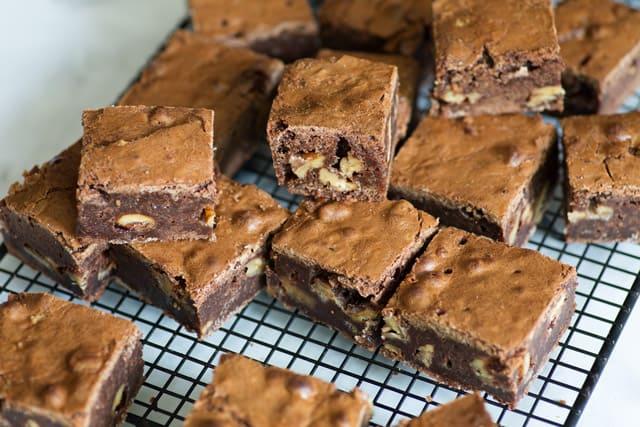 Praline Brownies on cooling rack