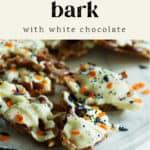 White Chocolate Halloween Bark on a plate.