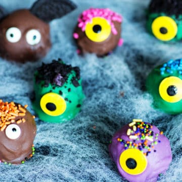Halloween Oreo Truffles in the shape of monsters and bats