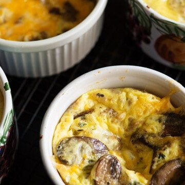 Baked Eggs with Mushrooms in a ramekin