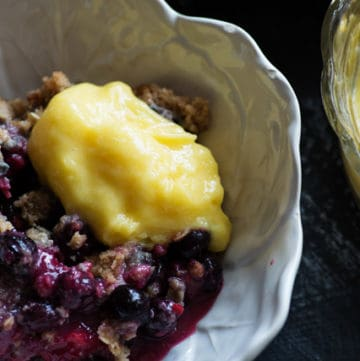 Bumbleberry Crisp with a scoop of Lemon Curd