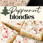 White chocolate peppermint blondies on parchment paper