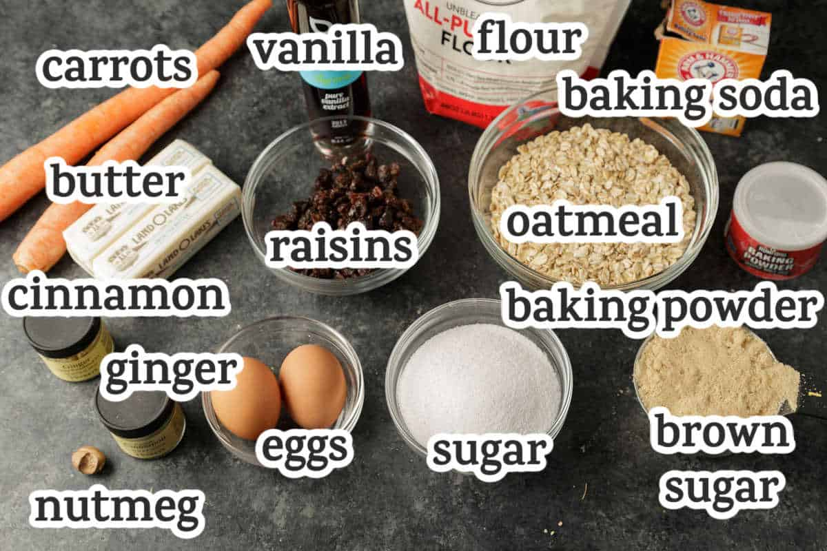 ingredients for carrot cake cookies