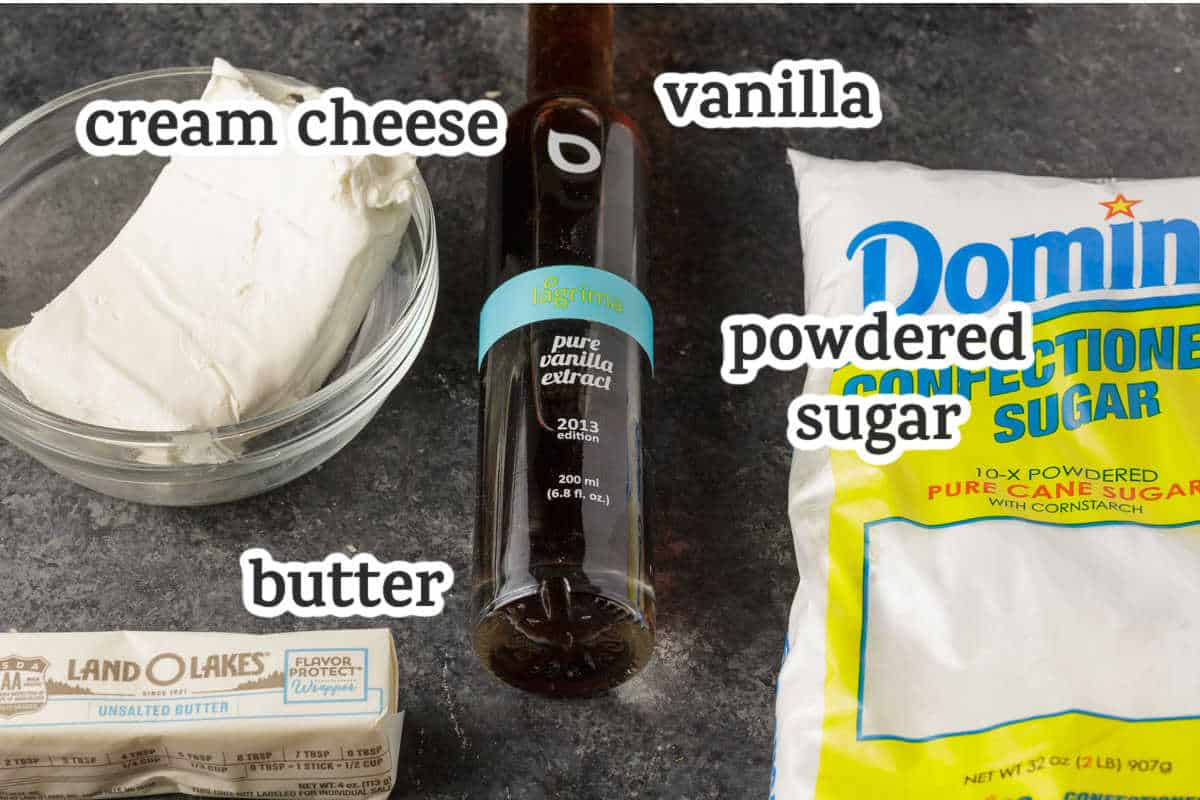 Ingredients for a cream cheese frosting