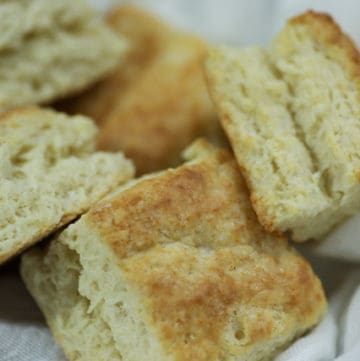 Square Buttermilk Biscuits in a basket