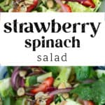 A close up picture of Strawberry Spinach Salad in a bowl.